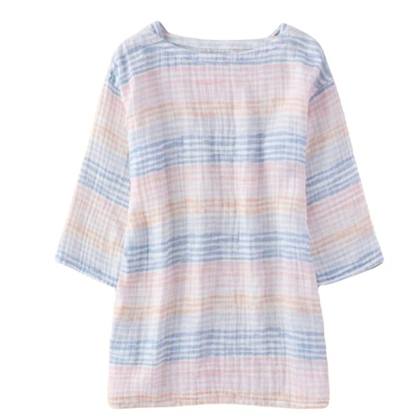 Crepe Gauze Ladies Print Three-Quarter Sleeve Tunic T-shirt