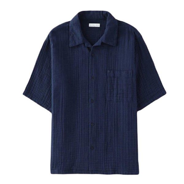 Crepe Gauze Men's Open Collar Shirt
